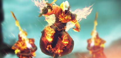 Flaming warlocks into battle.