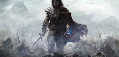 Talion walks through smoke with the severed head of an orc.