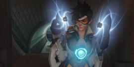 An image of Tracer from Overwatch with guns charged and ready.