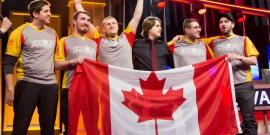 Rouge Et Au, from Laval University, celebrating their victory at Heroes of the Dorm
