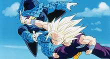 Gohan attacks a Cell Jr