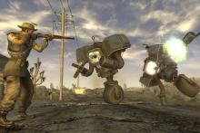 Explore the wasteland and defeat foes in New Vegas.