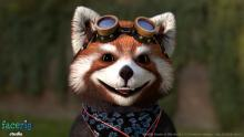 Say cheese as steampunk red panda.