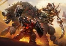 A beast master and a dwarf fight in the hot desert.