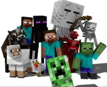 A picture with Steve, a Creeper, a Zombie, an Enderman, a Skeleton, a Ghast, a Cow, a Chiken and a Sheep