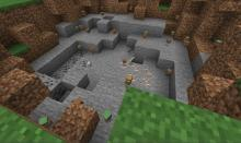 Blocks of dirt and stone left by the explosion of a charged creeper