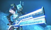 A Titan dons the new dungeon armor with the new season pass sword.
