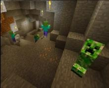 Creepers and zombies in the inside of a cave