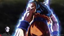 Goku achieving Ultra Instinct against Jiren