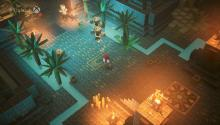 A cute cobblestone street is lined with palm trees, and surrounded by glowing lanterns.