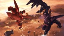 Sora and Baymax are fighting against evil