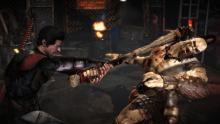 The player uses his bat to beat his opponent into submission