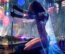 It's safe to say that bloody streets, rain and katanas are simply just a part of the cyberpunk aesthetic.