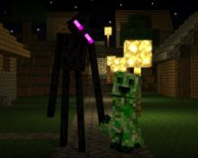 The shot of a creeper and an enderman in the night