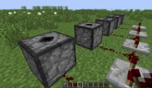 a group of dispensers connected through redstone to make a firework launcher