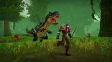A dinosaur chases a weary adventurer through the forest