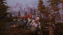 Use guns or melee weapons to take out zombies.