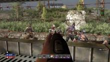 Picking off zombies from the barbed wire.