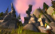 Broken pillars remind adventures of what as been lost in war