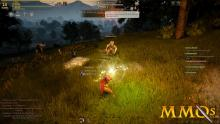 Two players are fighting in the forest