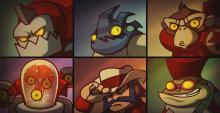 Clunk, Leon Chameleon, Yuri, Voltar, Sherrif Lonestar, and Froggy G.