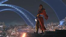 Auron looking like a boss on top of the tallest building in the city. How did he even get up there?