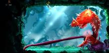 Rayman fights a mutated deadly plant with tentacles and thorns.