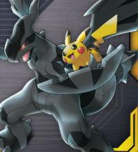 Pikachu looks adorable while riding on Zekrom's wing. But don't let the cuteness distract you from how powerful this duo is.