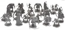 A group of grey, plastic, unpainted minis.