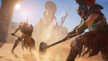Bayek fighting one of the many foes in AC: Origins