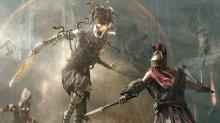 Assassins Creed Odyssey main character fights against one of the game's DLC enemies
