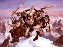 A party of old barbarians lost in the snowtop mountains charges. They know all about slashing damage.