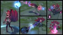 This is a display of Ahri's skills in the Challenger skin.