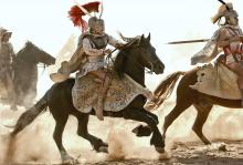 Alexander riding into battle
