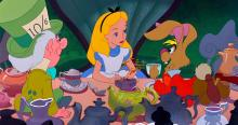 Alice having tea with Hatter and Hare