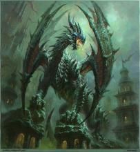 Legendary Ancient Dragon perches on ruins.