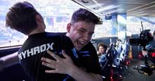 Cooler Aqua and Nyhrox hug as they win the Fortnite Duo World Cup
