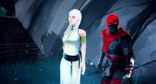The titular character of Aragami talks with another character