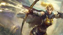 A female elven archer with a bow firing three magical arrows