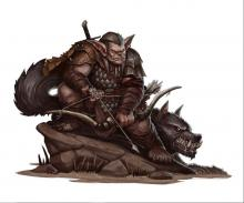 Bugbear leans against a rock with his trsuted canine.