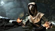 An argonian character using magic on their enemies.