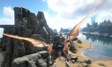 A survivor rides a flying dinosaur