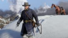 Arthur morgan  in the snowy start of red dead redemption 2