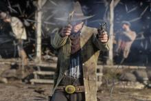Arthur in the front lines with his six-shooters, dropping fools.