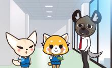 One of the rare instances you'll see Retsuko (middle) all cheery-eyed.