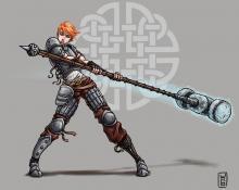 A thin female Human swinging a long hammer that glows magically.