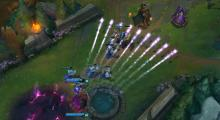 Firing off several areas, allowing Ashe to poke enemies in large groups at once