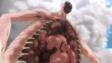 Rod's colossal titan spews its disgusting internal organs onto the wall. Yuck.