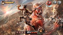 An awesome Attack On Titan 2 wallpaper art showing Eren fighting a titan.