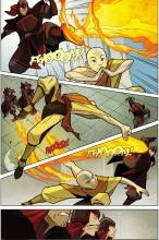 On this page, Aang faces off against a few fire-benders